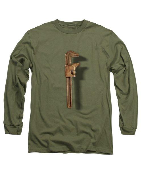 Adjustable Wrench Backside On Black Long Sleeve T-Shirt