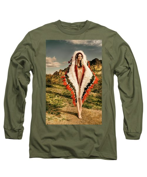 Adorned Feathered Nude Long Sleeve T-Shirt