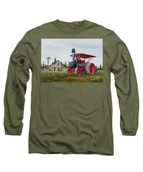 Long Sleeve T-Shirt featuring the painting Advance Rumely Steam Traction Engine by James Williamson