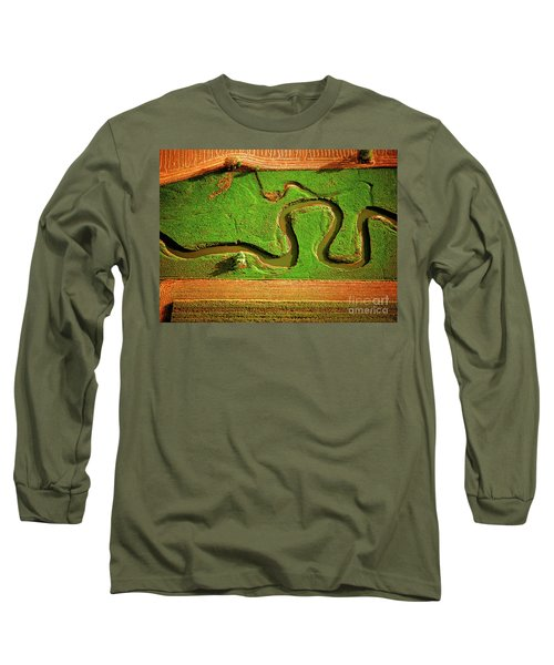 aerial, farm, stream, northern, Illinois, farms, meandering  Long Sleeve T-Shirt