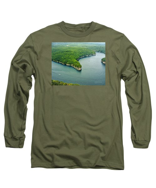 Aerial Image Of  Long Point Cliff Long Sleeve T-Shirt by Mark Allen