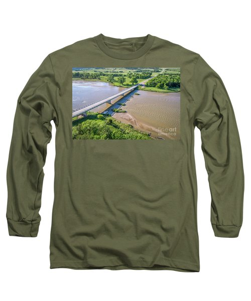 aerial view of Niobrara River in Nebraska Sand Hills Long Sleeve T-Shirt