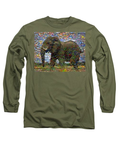 Long Sleeve T-Shirt featuring the mixed media African Elephant Wild Animal Mosaic by Paul Van Scott
