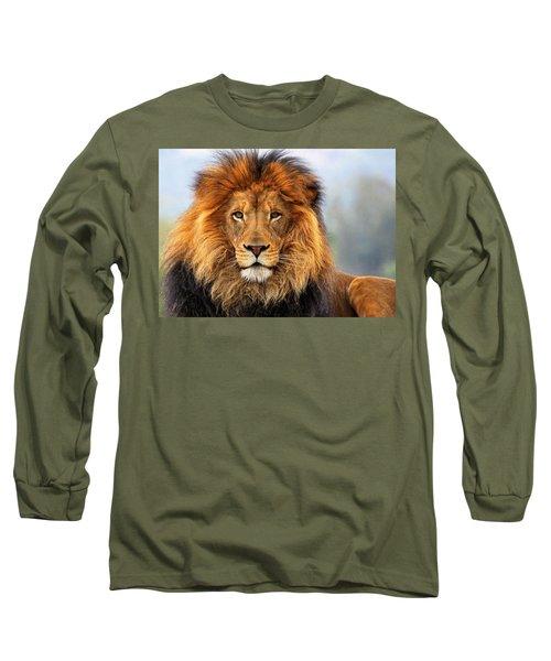 African Lion 1 Long Sleeve T-Shirt by Ellen Henneke