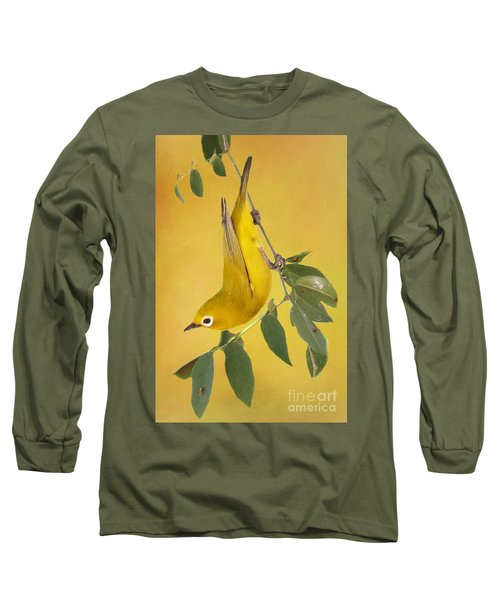 African Yellow White-eye Long Sleeve T-Shirt by Myrna Bradshaw