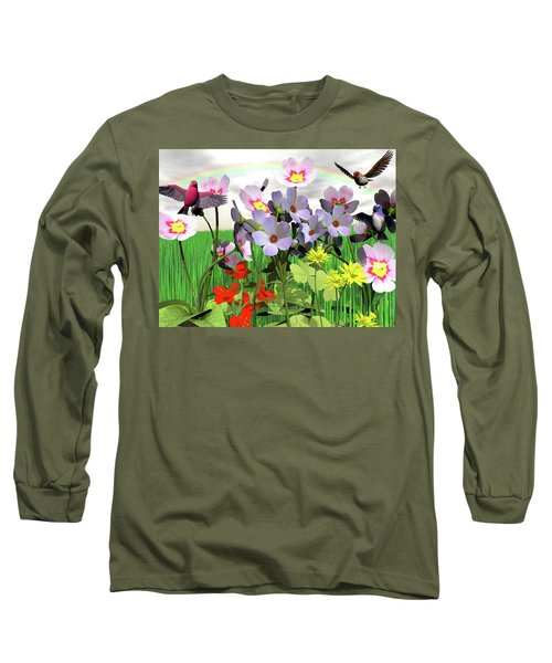 After The Rain Comes The Rainbow Long Sleeve T-Shirt by Michele Wilson