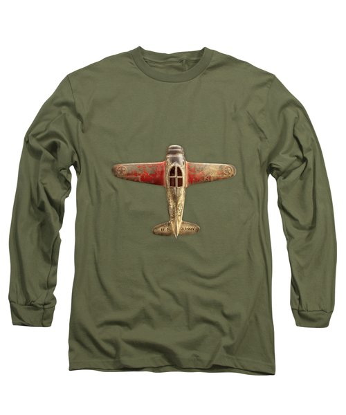 Airplane Scrapper On Black Long Sleeve T-Shirt