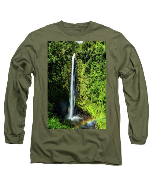 Akaka Falls With Rainbow Long Sleeve T-Shirt