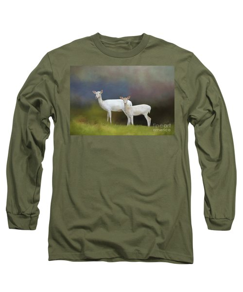 Albino Deer Long Sleeve T-Shirt by Marion Johnson