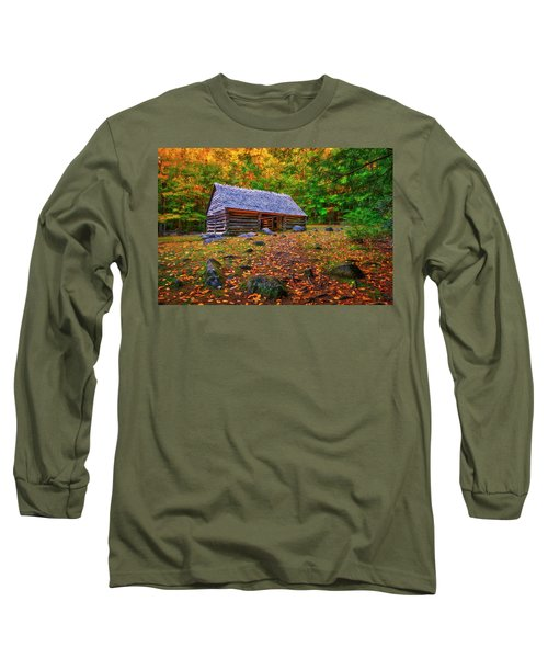Alex Cole Cabin At Jim Bales Place, Roaring Fork Motor Trail In The Smoky Mountains Tennessee Long Sleeve T-Shirt