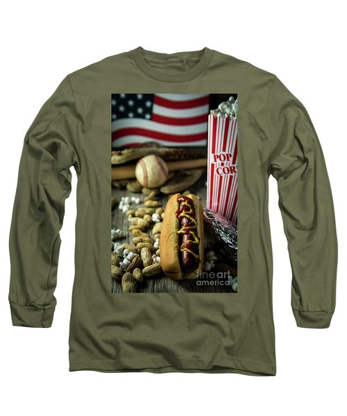 All American Baseball  Long Sleeve T-Shirt by Deborah Klubertanz