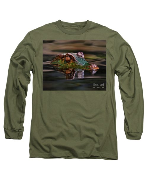 Alligator Above Water Reflection Long Sleeve T-Shirt by Loriannah Hespe