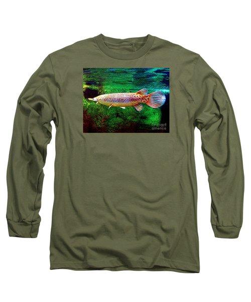 Alligator Gar Fish  Long Sleeve T-Shirt by Merton Allen