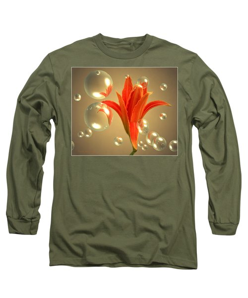 Long Sleeve T-Shirt featuring the photograph Almost A Blossom In Bubbles by Joyce Dickens