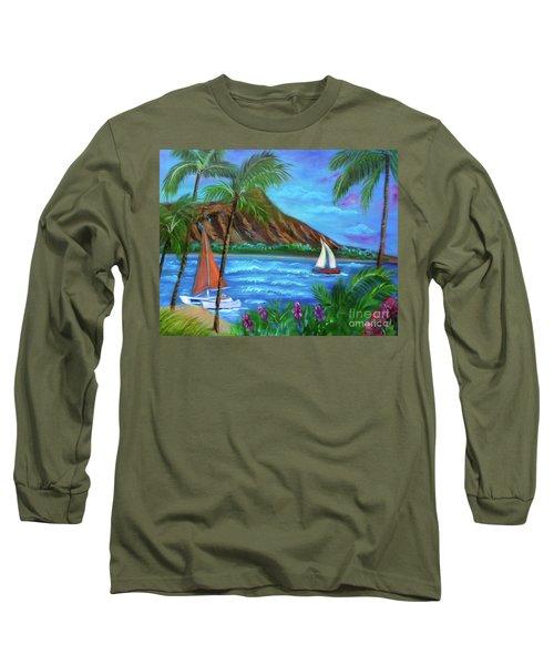 Aloha Diamond Head Long Sleeve T-Shirt by Jenny Lee