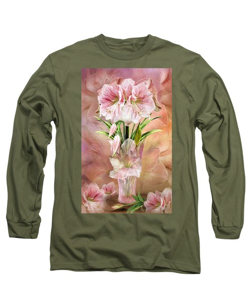 Long Sleeve T-Shirt featuring the mixed media Amaryllis In Amaryllis Vase by Carol Cavalaris