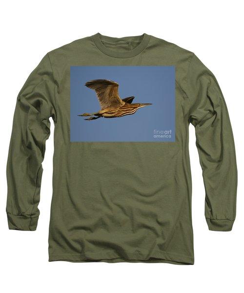 American Bittern Flight Long Sleeve T-Shirt by Myrna Bradshaw