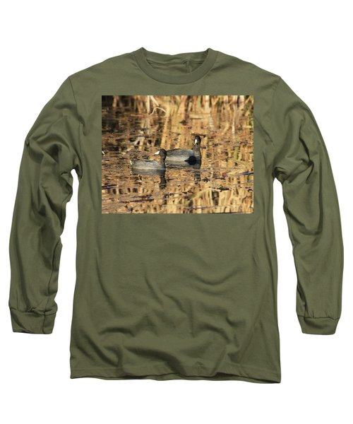 Long Sleeve T-Shirt featuring the photograph American Coots by Jerry Battle