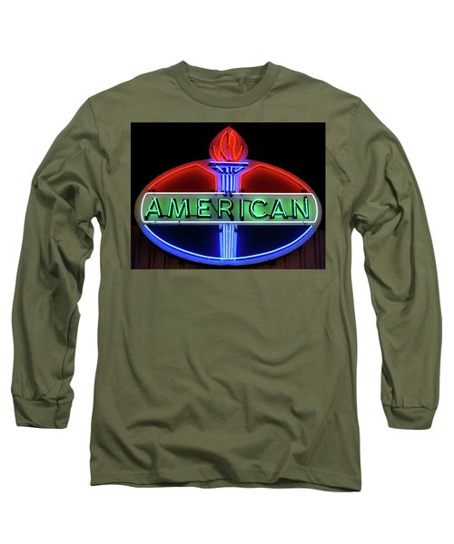 Long Sleeve T-Shirt featuring the photograph American Oil Sign by Sandy Keeton