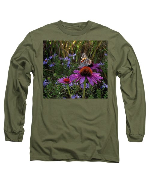 American Painted Lady On Cone Flower Long Sleeve T-Shirt