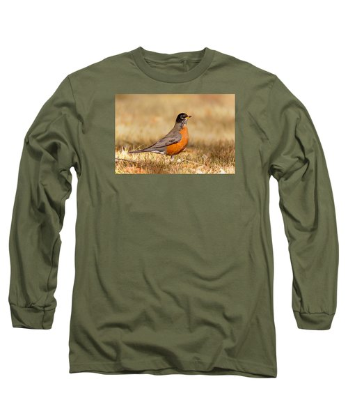 Long Sleeve T-Shirt featuring the photograph American Robin by Ram Vasudev