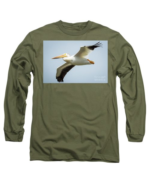 Long Sleeve T-Shirt featuring the photograph  American White Pelican Flyby  by Ricky L Jones