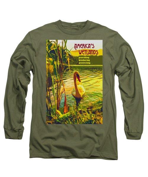 Long Sleeve T-Shirt featuring the digital art America's Wetlands by Chuck Mountain