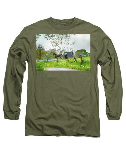Amish Buggy Along Ronks Road Long Sleeve T-Shirt