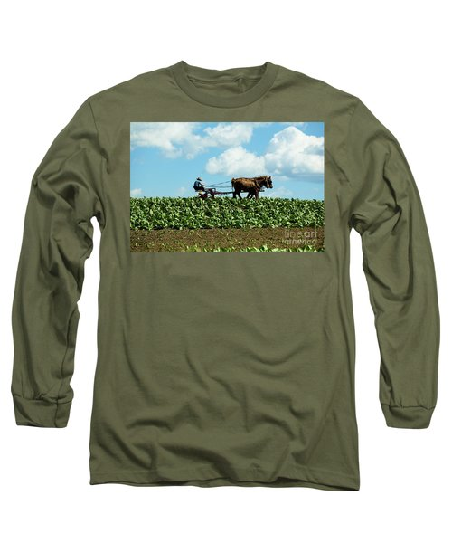 Amish Farmer With Horses In Tobacco Field Long Sleeve T-Shirt