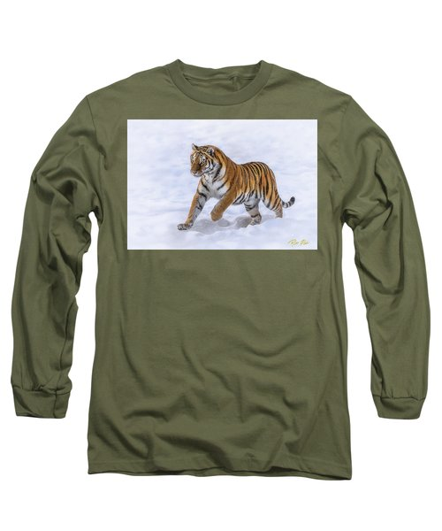 Long Sleeve T-Shirt featuring the photograph Amur Tiger Running In Snow by Rikk Flohr