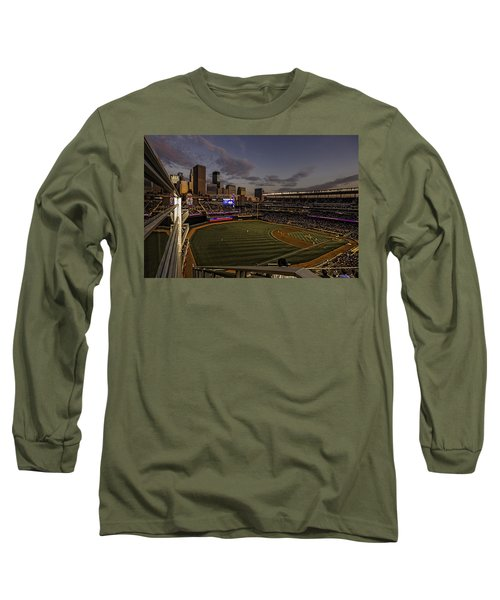 Long Sleeve T-Shirt featuring the photograph An Evening At Target Field by Tom Gort