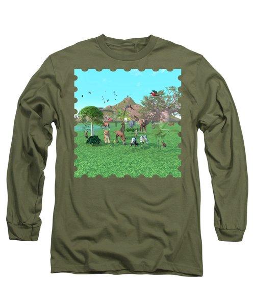 An Exotic Wild Animal Scene Long Sleeve T-Shirt