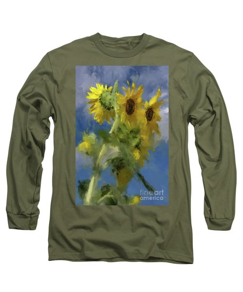 Long Sleeve T-Shirt featuring the photograph An Impression Of Sunflowers In The Sun by Lois Bryan