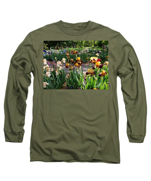 Long Sleeve T-Shirt featuring the photograph An Iris Party by Nancy Kane Chapman