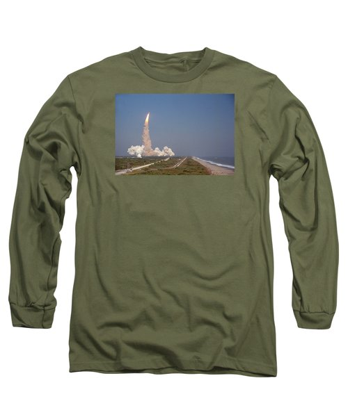 An Oceanside View Of The Sts-29 Discovery Launch From Pad 39b. Long Sleeve T-Shirt