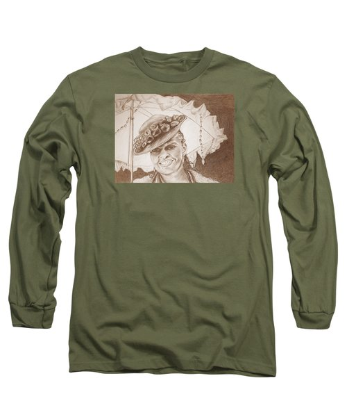 An Old Fashioned Girl In Sepia Long Sleeve T-Shirt by Antonia Citrino