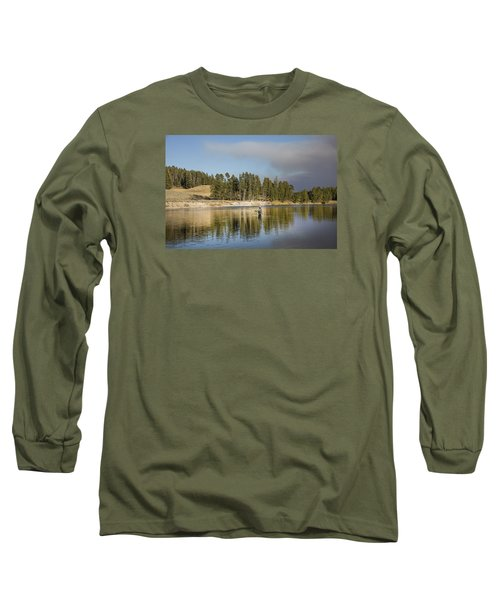 Angler Amidst Gorgeous Surroundings And A Calm River In The Yellowstone In Wyoming Long Sleeve T-Shirt