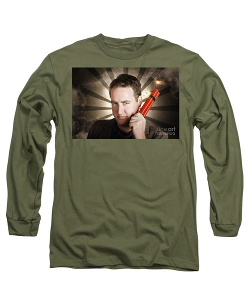 Angry Business Man With Bomb. Work Pressure Long Sleeve T-Shirt
