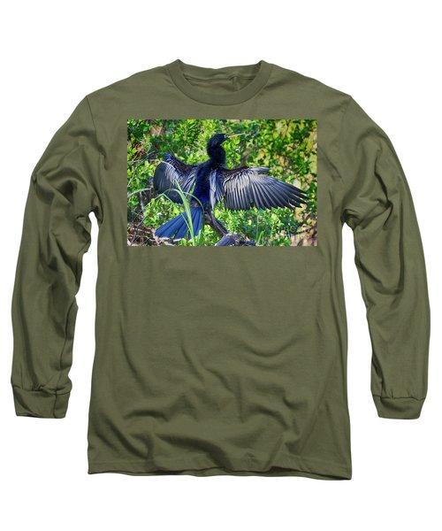 Long Sleeve T-Shirt featuring the photograph Anhinga Blue Eye by Deborah Benoit