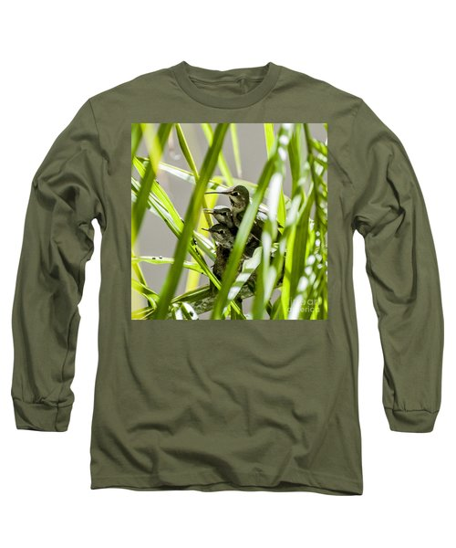 Long Sleeve T-Shirt featuring the photograph Anna Hummer On Nest by Daniel Hebard