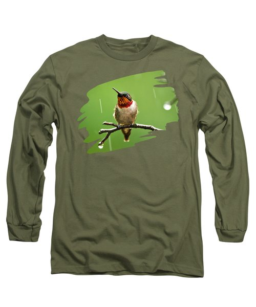 Another Rainy Day Hummingbird Long Sleeve T-Shirt by Christina Rollo
