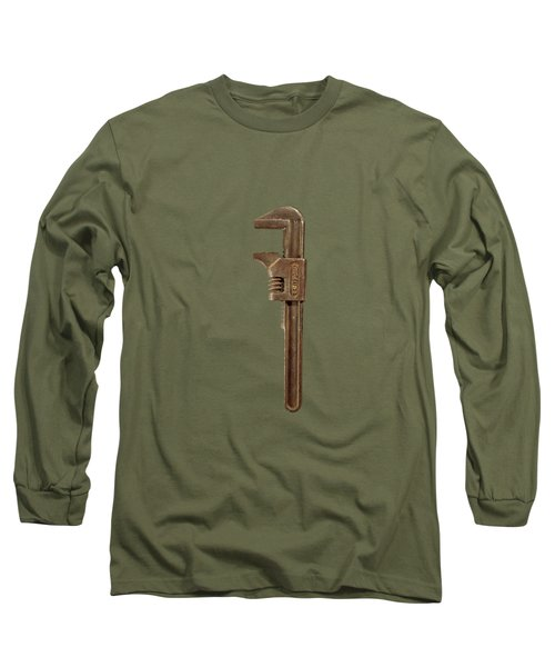 Antique Adjustable Wrench Front On Black Long Sleeve T-Shirt