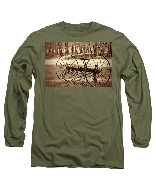 Antique Farm Rake In Sepia Long Sleeve T-Shirt