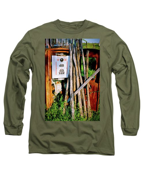 Long Sleeve T-Shirt featuring the photograph Antique Gas Pump by Linda Unger
