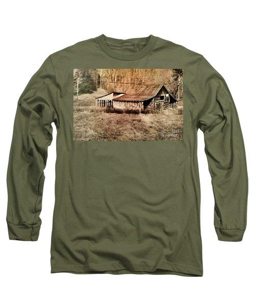 Antique Log Beam Barn Southern Indiana Long Sleeve T-Shirt by Scott D Van Osdol