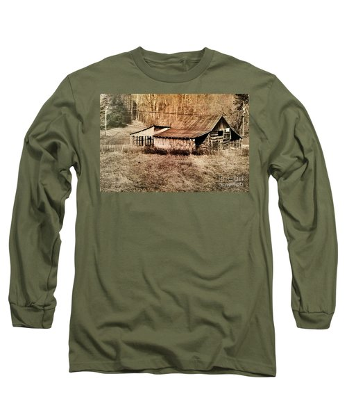 Antique Log Beam Barn Southern Indiana Long Sleeve T-Shirt