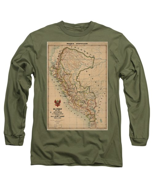 Antique Maps - Old Cartographic Maps - Antique Map Of Peru, South America, 1913 Long Sleeve T-Shirt