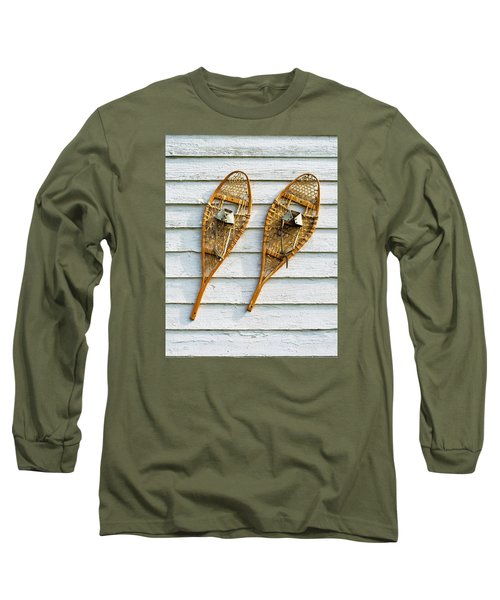 Long Sleeve T-Shirt featuring the photograph Antique Snowshoes On The Wall by Gary Slawsky
