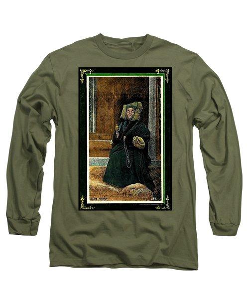 Long Sleeve T-Shirt featuring the painting Antique Tibetan Lama by Peter Gumaer Ogden