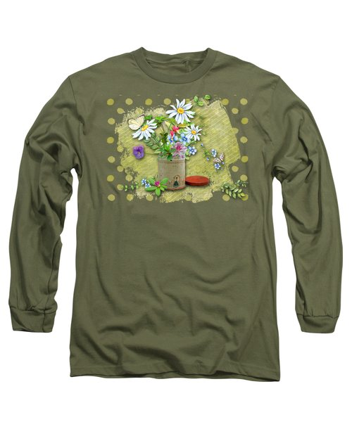 Antique Tin Of Flowers Long Sleeve T-Shirt by Larry Bishop